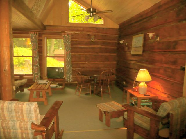 Living Room has classic log walls